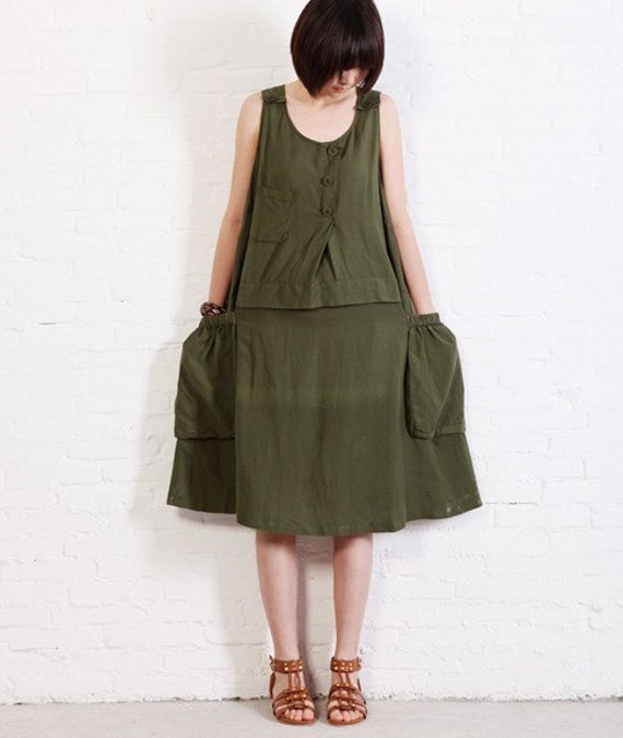 Never Again - sundress green(more colour and size choice)-A10