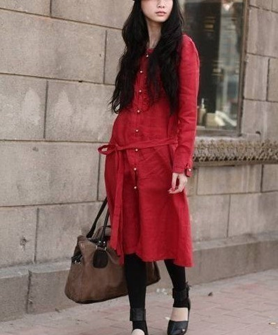 irregularity style red flax sundress can choose the colour(more colour and size choice)