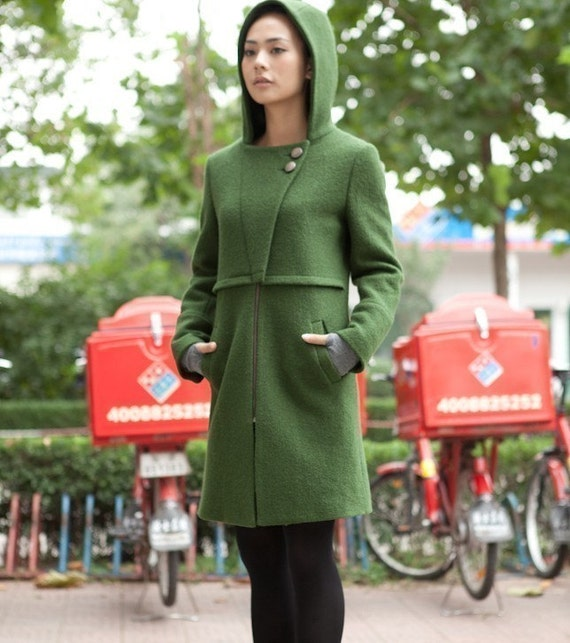 Green comfortable wool hoodie coat(more colour and size choice)