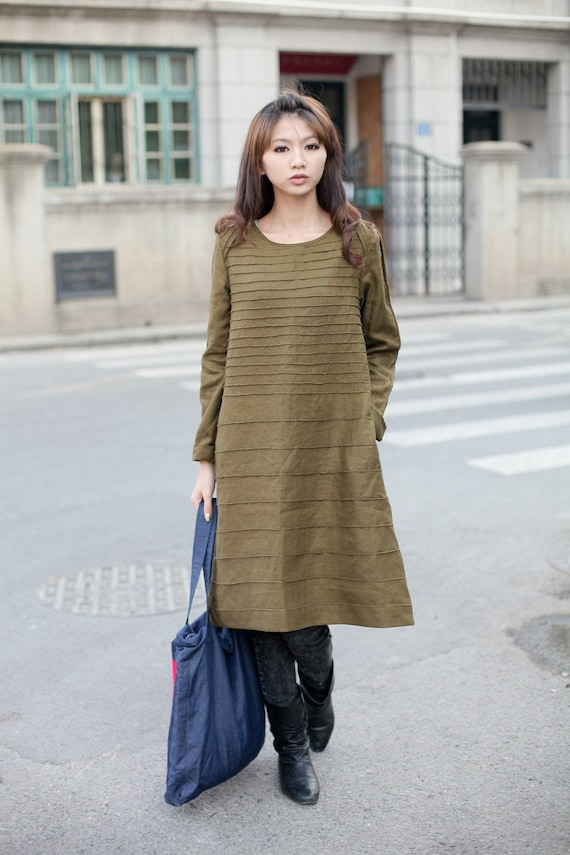 stripe flax long sleeve sundress/tunic