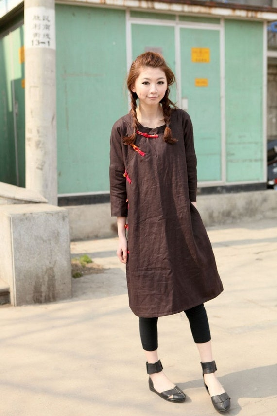 folk style linen coffee sundress/blouse(more colour choose)