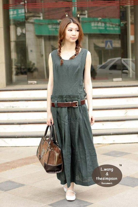 Beautiful linen olive green sundress(more colour and size choice)-X5