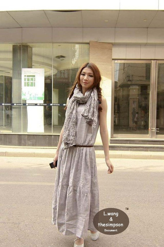 Classic linen beige sundress(more colour and size choice)