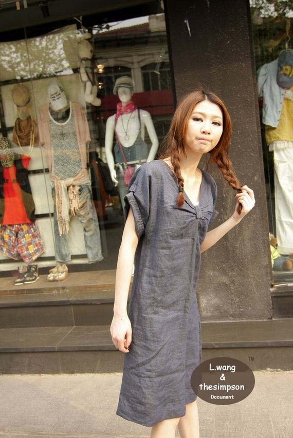 bowknot neck linen dress(more colour and size choice)-Y10