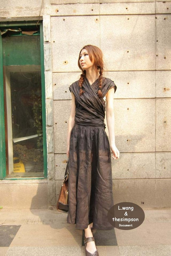 Boho style black gray long sundress(more colour and size choice)