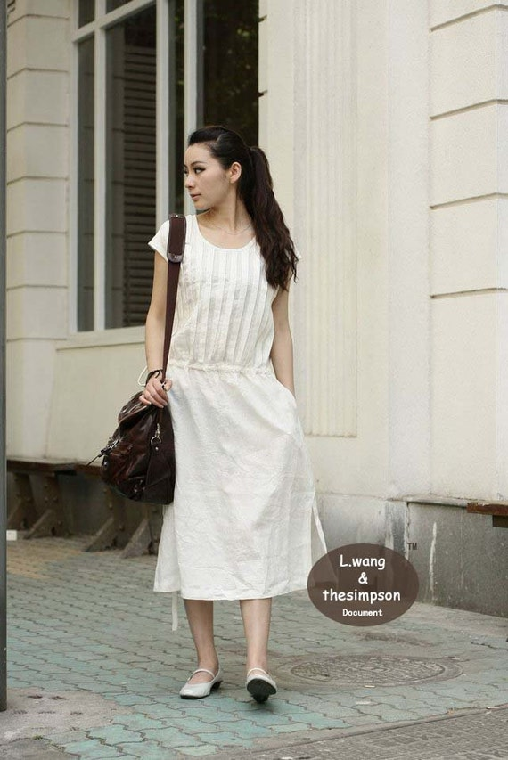 Linen white sleeveless sundress(more colour and size choice)