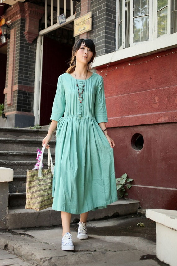 Far Away From Home-Light green half sleeve dress(more colour and size choice) -A1023