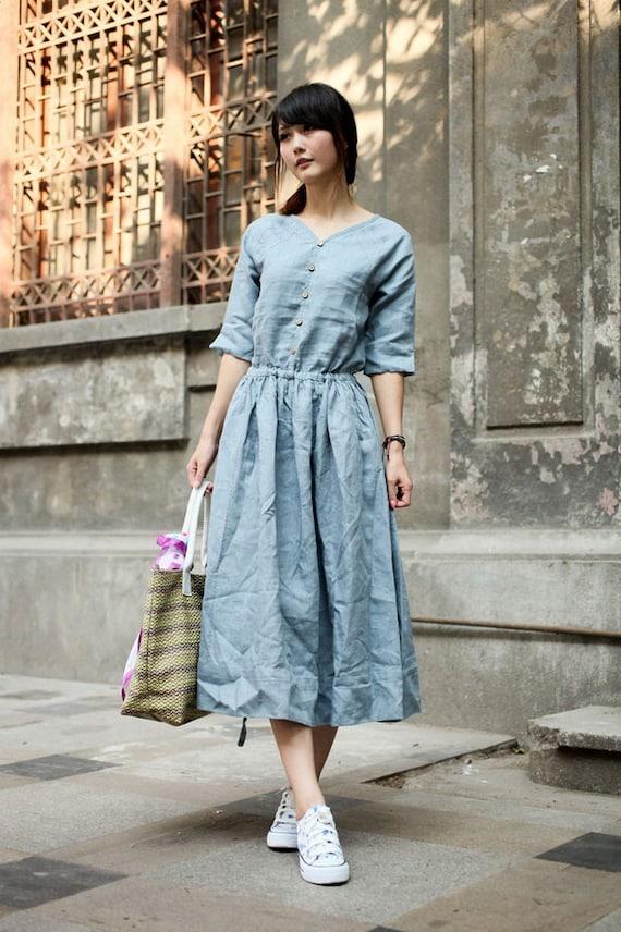 Oceans Deep-light blue linen dress(more colour and size choice)