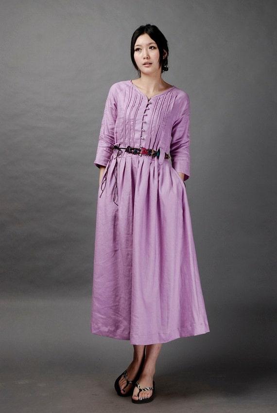 Light  purple stripe style long dress(more colour and size choice)