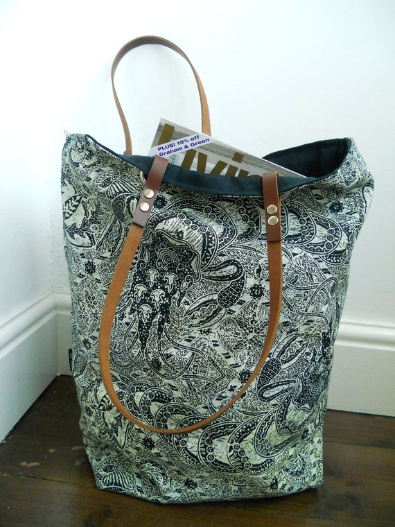 SALE Hand block printed Linen tote bag, with leather handles Langoustine