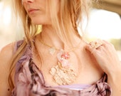 Sample Sale- Embroidered Silk Georgette Textile necklace