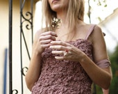 Custom Dusty Pink Experimental Tunic Top. Unusually Textured Top. Silk ruffle detail