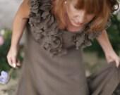 Reserved- Woodland Cowgirl Silk Ruffles Dress. Unconventional Brown silk Bridesmaid Dress . Avant Garde dress. Brown Cowgirl dress