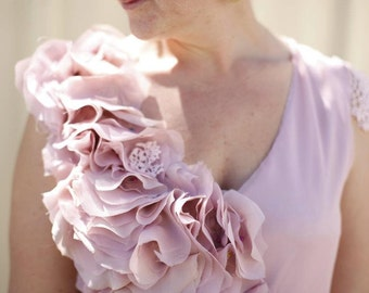 MADE to ORDER-Sweet Pink SILK Ruffles dress. Dusty pink silk dress. Blush Avant Garde dress. Silk petal sculpture