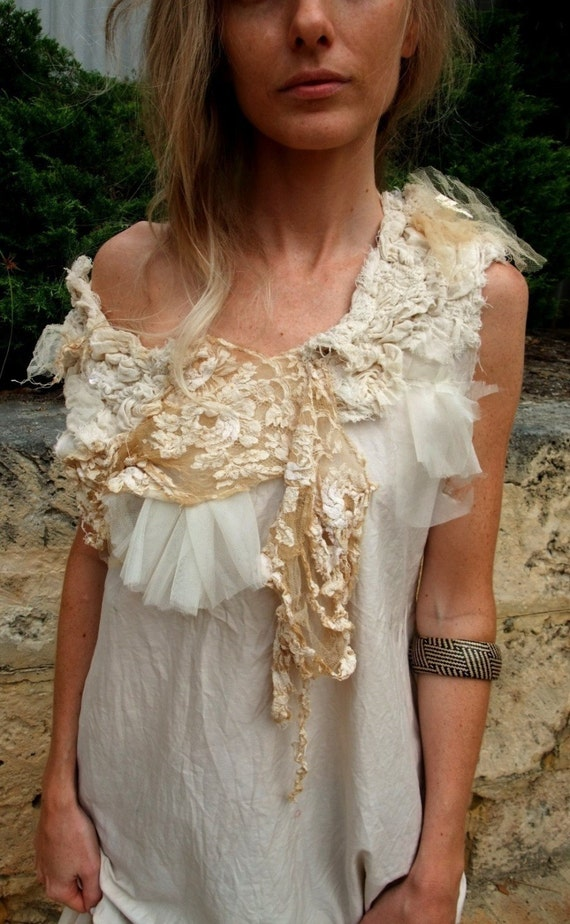 CUSTOM -  Shore Line and Rocks Dress - Textured and Gathered Natural tea stained sculpted Dress
