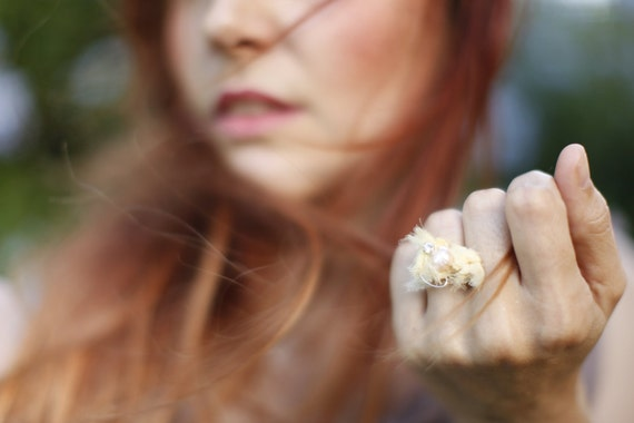 RESERVED -SALE- Ethereal Yellow Silk Textile Ring. Yellow silk ring . Fabric sculpture. Experimental Accessories