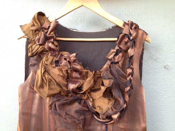 Autumn Leaves - Folded and Plaited Copper Maxi Dress. Brown silk and Jacquard Long dress. Long Brown rustic silk dress.