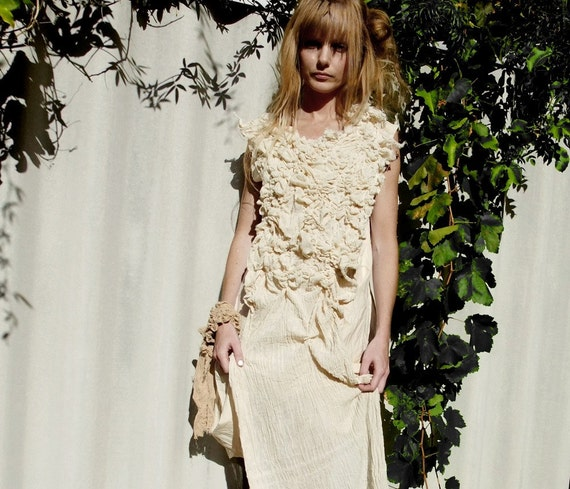 Sea Urchin Dress. Textured, Gathered Dress. Unconventional Wedding Dress. Experimental Clothing, By RawHemline on etsy