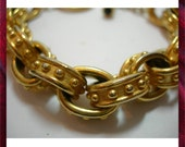 Golden Chunky Bracelet with Toggle Clasp - Signed Carolee