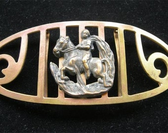 Antique Buckle with Child On Horseback