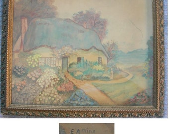 English Cottage Watercolor By E Atkins