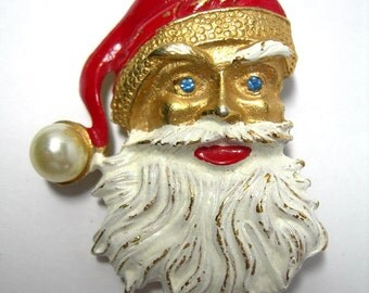 Vintage Christmas Pin - Old Fashioned Blue Eyed Santa Claus Brooch