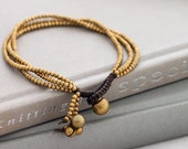 Three Strand Simple Brass Beaded Bracelet
