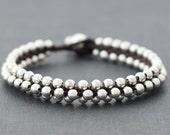 Round Beaded Silver Bracelet
