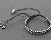 Beaded Adjustable Black Silver Woven Bracelet Men Unisex