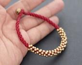 Maroon Red Beaded Bracelet