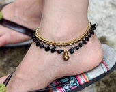 Black Onyx Chain Layer Anklet