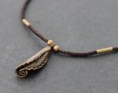 Tube Flower Oxidized Brass Charm Necklace