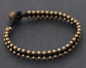 Simple Beaded Brass Bracelet