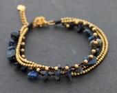 Lapis Layer Brass Adjustable Bracelet