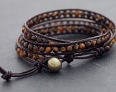 Leather Wrap Beaded Tiger Eye Bracelet
