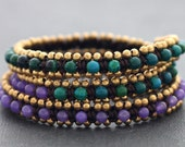 Green Purple Wrap Beaded Bracelet