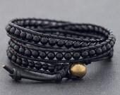 Black On Black Onyx Wrap Bracelet Anklet
