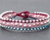 Girly Rocker Silver Beaded Bracelet