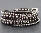 Brown Wrap Boho Rock Silver Bracelet