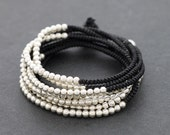 Wrap Bracelet Anklet Necklace Silver Black