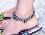 Lapis lazuli Layer Chain Anklet
