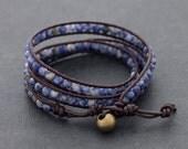 Brown Leather Wrap Beaded Sodalite Bracelet