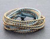 Pastel Blue Beaded Wrap Bracelet