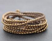 Taupe Brass Wrap Bracelet Necklace