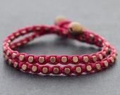 Shocking Pink Brass Double Wrap Bracelet