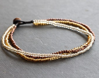 Three strand Anklet Golden brown Earth tone