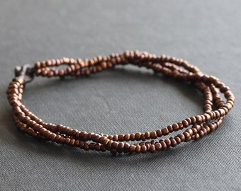 Three Strand Anklet Bronze Rustic