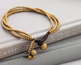 Three Strand Simple Brass Beaded Bracelet