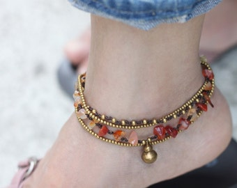 Beaded Woven Anklets Carnelian Brass Chain Strand