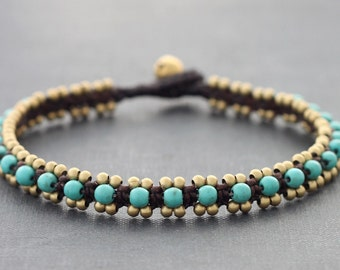 Turquoise Brass Woven Anklet